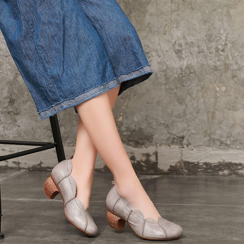 Tyawkiho 2018 primavera mujeres zapatos de cuero 5 CM tacones altos de cuero genuino mujeres zapatos grises deslizamiento en bombas de mujer hechas a mano marca-in Zapatos de tacón de mujer from zapatos    1