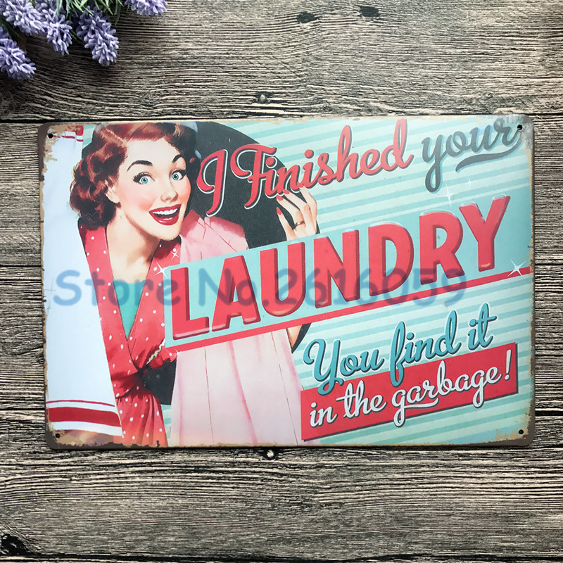 LAUNDRY Vintage Home Decor Metal Tin Signs Malt Decorative Plaques For Bar Wall Art Craft 20X30cm