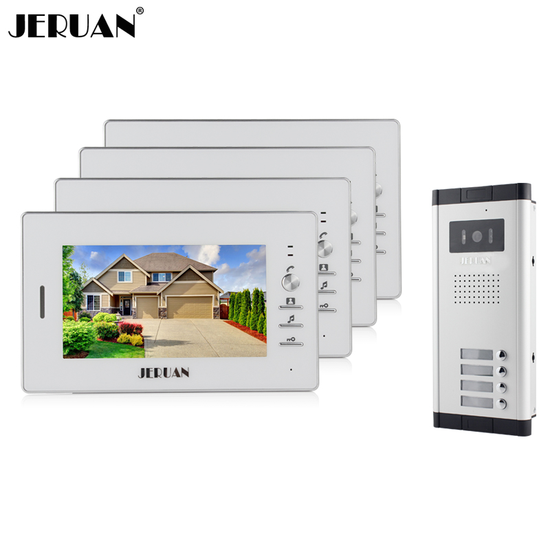 JERUAN Wholesale Apartment 7 Video Intercom Door Phone Entry System 4 Monitors + 1 Doorbell Camera for IN Stock FREE SHIPPING wired 7 video door phone intercom doorbell entry system 2 monitors villa house waterproof camera in stock free shipping