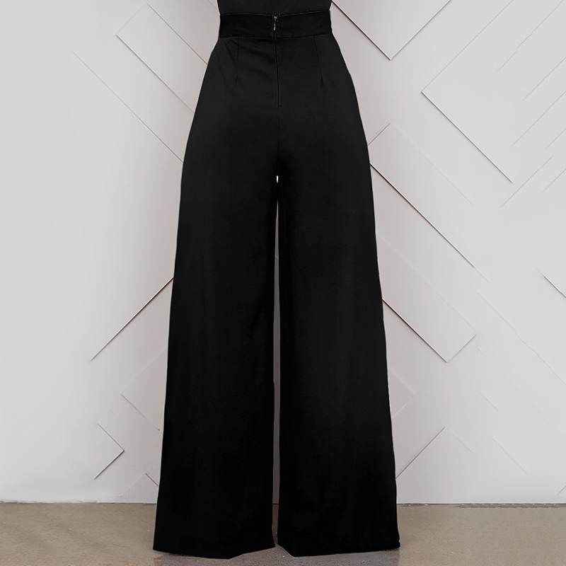 Elegant High Waist Women's Trousers 19 Autumn Winter White Black Office Baggy Long Back Zipper Wide Leg Pants pantalon femme 11