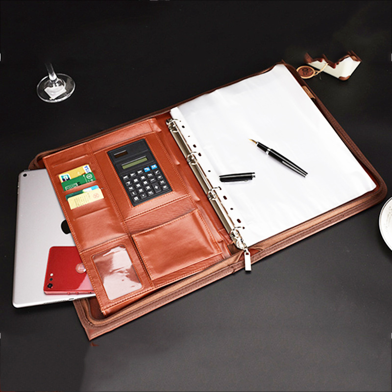 A4 Leather Padfolio School Multi-function Folder for Documents School Office Organizer Planner Office Document Bag Portfolio a4 5 cheap clipboard padfolio multi function filling products folder for documents school office supplies organizer portfolio