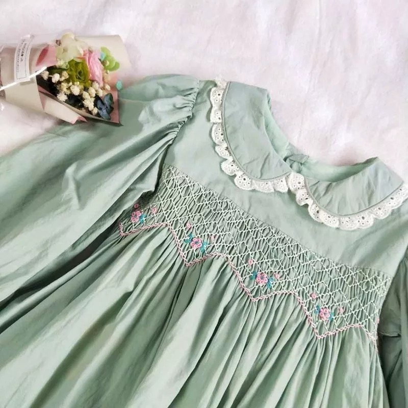 Image 4 - autumn baby smocked dress handmade green girl dresses long sleeve kids clothes fall cotton school children handmade boutiques-in Dresses from Mother & Kids