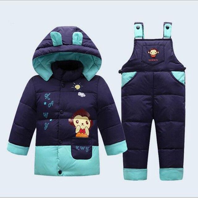 Новый ребенок зимой вниз одежда маленький ребенок утолщаются и пиджаки одежда детские наборы для 1-3 лет дети брюки детей пальто причинно стиль