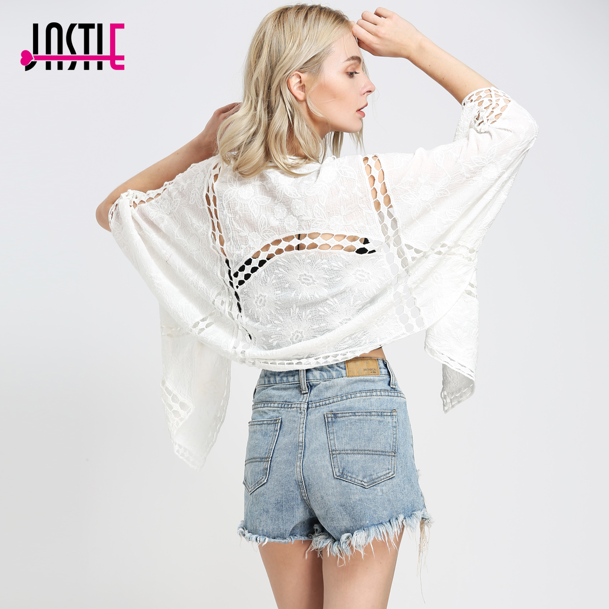 Jastie Boho Hippie Kimono Embroidery Crochet Women Outerwear Top Batwing Sleeves Cover Up Cardigan Casual Beach Jacket Z-90