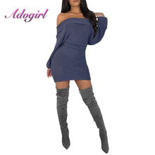 Sexy Off Shoulder Dress Women Autumn Slash Neck Solid Long Sleeve Knitted Rib Sweater Women Dress Warm Outwear Mini Dress sexy long sleeve off the shoulder belt design sweater dress for women