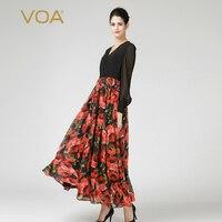 VOA шелк Макси платья Для женщин пикантные сетчатые с длинным рукавом Осень V шеи Высокая Талия корейский стиль Роза красная печатных элегант
