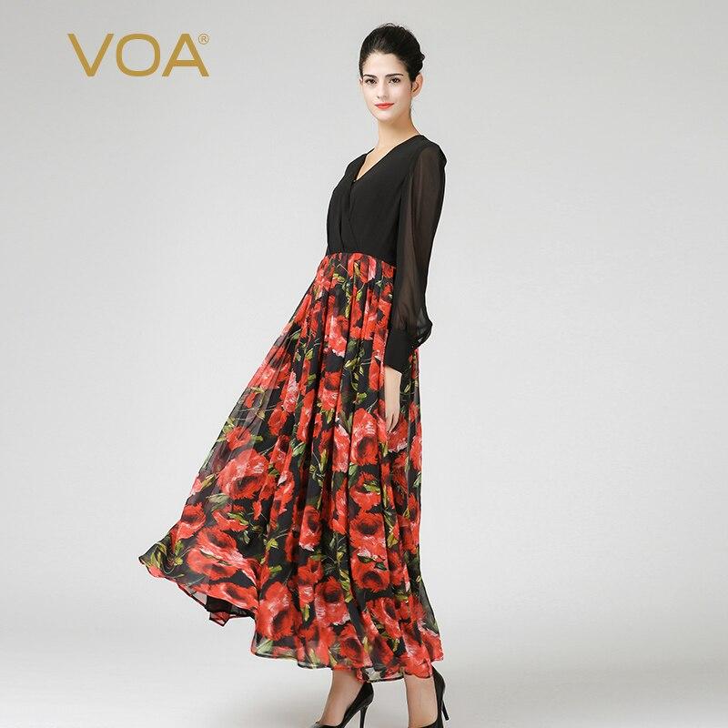 Voa шёлковый Макси Платья Женская сексуальная сетка с длинным рукавом Осень V шеи Высокая Талия корейский стиль Роза красная печатных элеган