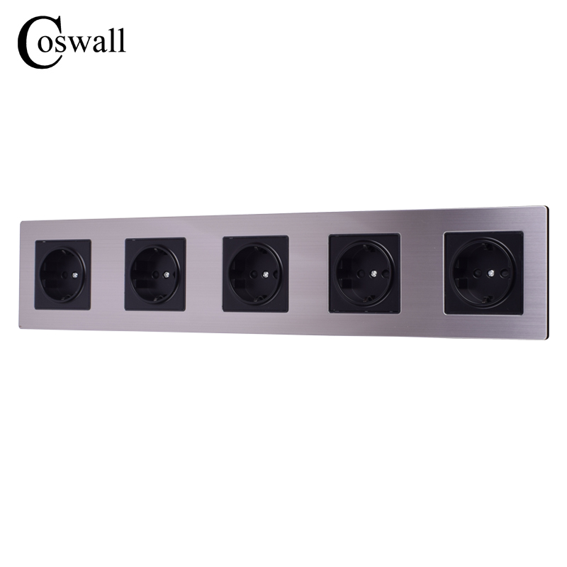 COSWALL 16A EU Standard Quintuple Outlet Luxury 5 Way Power Wall Socket Stainless Steel Panel 415mm*86mm AC 110~250VCOSWALL 16A EU Standard Quintuple Outlet Luxury 5 Way Power Wall Socket Stainless Steel Panel 415mm*86mm AC 110~250V