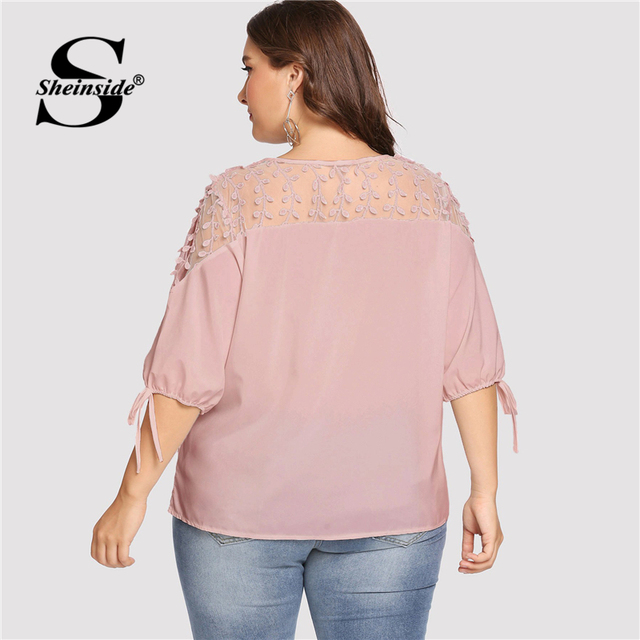 Sheinside Plus Size Pink Contrast Mesh Knot Cuff Blouse Summer Tops for Women 2019 V neck Half Sleeve Elegant Office Blouses 1