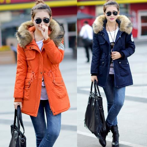 ФОТО M-XXXXL Newest Woman jackets autumn winter thicken wool slim overcoat wadded outerwear large size fur collar coat parkas