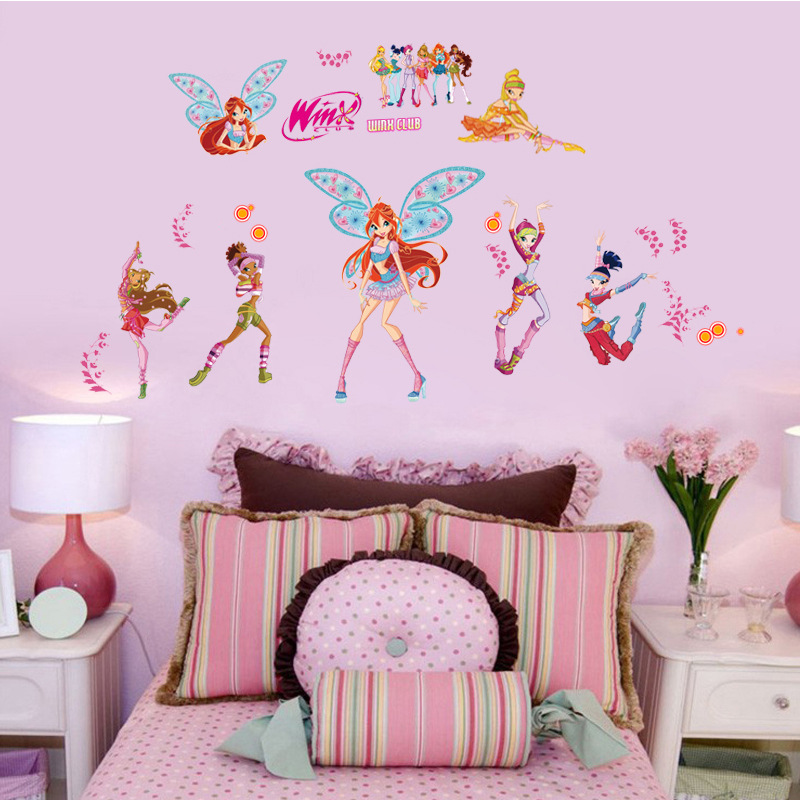 Pvc winx club cartoon wall stickers for kids girls room for Kids home decor