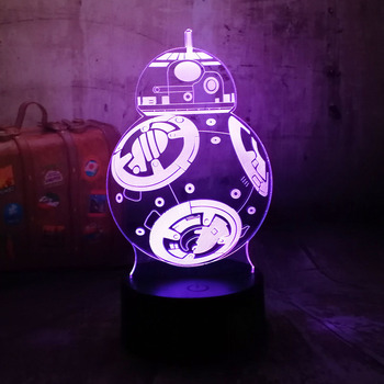 Hot 3D Star Wars Robot BB-8 Table Desk Lamp LED Night Light USB Switch Colorful Holiday lamp Battery Remote Control Kids lamp цена 2017