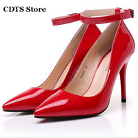 CDTS Plus 35 45 Women S Japanned Leather Shoes Sexy 12cm Ultra Thin High Heels Pointed
