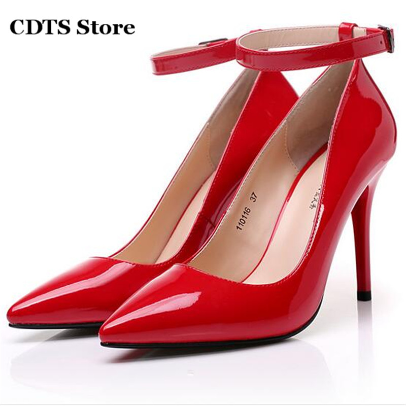 ФОТО CDTS Plus;35-45 women's japanned leather shoes sexy 12cm ultra thin high heels pointed toe single Ankle Strap Crossdresser pumps