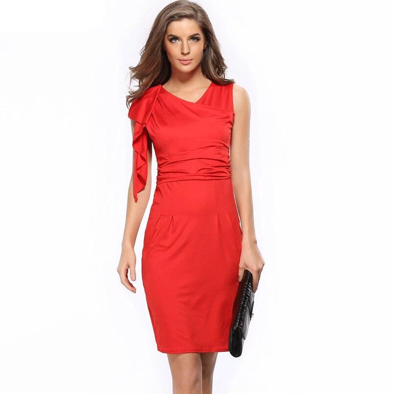 office female dress wrap sexy dress ruffle Pencil casual dress elegant v neck lady blue/white/red/black fashion top