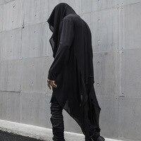 Men's Dark Cloak Long sleeved T shirt Costumes Personalized Hair Stylist Clothing Harajuku Mens T Shirts Fashion 2018 Hip Hop