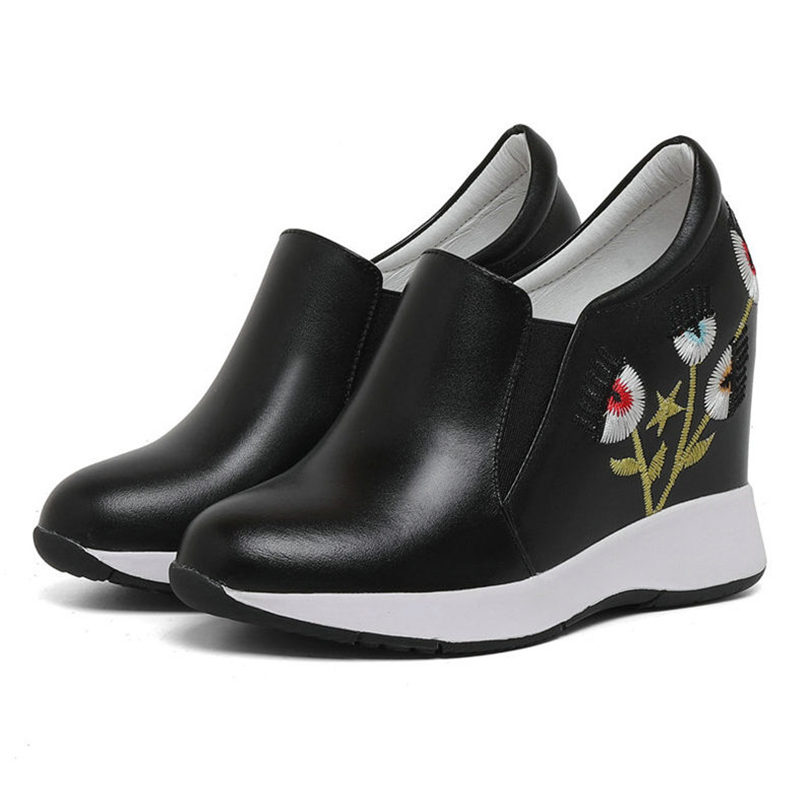 Tennis Shoes Women Platform Creepers Genuine Leather Wedges High Heel Party Pumps Embroider Flowers Sneakers Punk Trainers Shoes in Women 39 s Pumps from Shoes