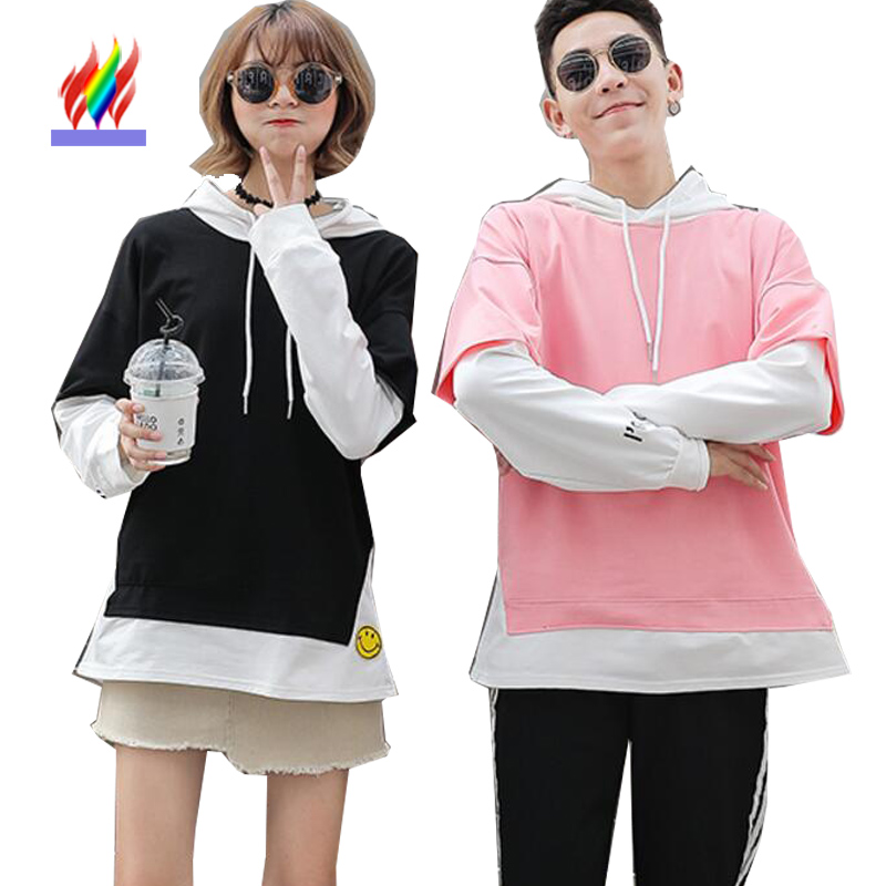 Matching Couple Clothes Lovers Female Male Autumn Winter Outerwear Faux Two Piece Tops Letter Pink Cute Korean Couple T Shirts girl