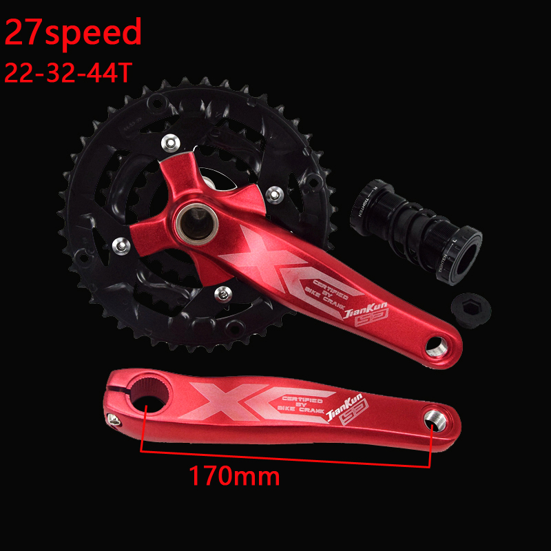 1 Pair 9 Speed Bike 22/32/44T Crank BB Bottom Bracket Set Hollow Tooth Plate 170mm Bicycle Crank Wheel