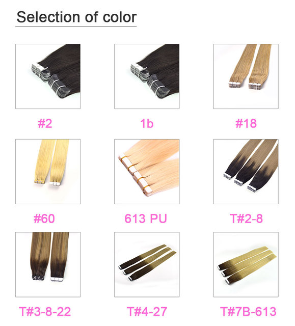 """Bigsophy Straight Tape In Human Hair Extensions Human Hair Skin Weft Human Remy Hair PU Tape On Hair Extensions 14""""-26"""" inch 1"""