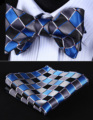 BC807B Blue Gray Check Bowtie Men Silk Self Bow Tie handkerchief set Pocket Square Classic Party Wedding