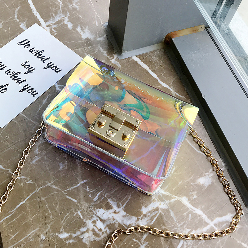 2018 Newest Fashion casual messenger bag brand bags style women handbag flap candy Transparent PVC leather cross body