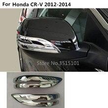 Car ABS chrome back rear view Rearview Side Mirror Strip stick trim panel 2pcs For Honda