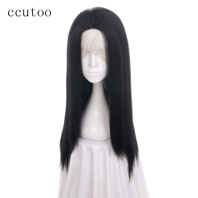 Ccutoo Womens Synthetic Hair Straight Grey Long Harajuku Cosplay Costume Wig Synthetic None-lacewigs