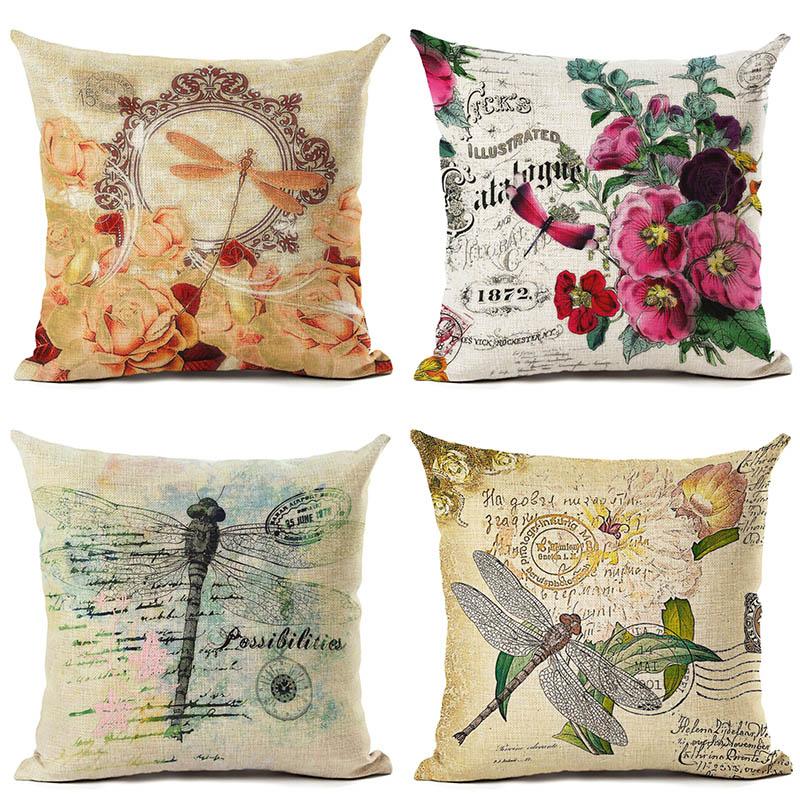 Home Sofa Decor Cotton Linen Pillow Cases Dragonfly Waist Throw Cushion Cover