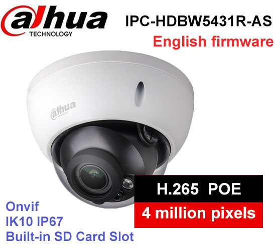 все цены на Dahua IPC-HDBW5431R-AS 4MP IK10 IP67 built-in POE SD slot Audio Alarm interface IP Camera replace IPC-HDBW4431R-AS dome camera