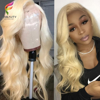 Glueless #613 Blonde Lace Front Human Hair Wigs Brazilian Body Wave Lace Frontal Wig Pre Plucked Honey Blonde Remy Lace Wigs