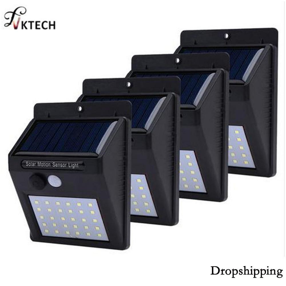 1-4 piezas 30 LEDs luz Solar PIR Sensor de movimiento de la lámpara Solar de jardín impermeable al aire libre de ahorro de energía de la calle Patio camino de Dropship
