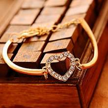 2018 Real Rushed Pulseiras For Women Gold-color Chain Ladies Bracelet Fashion Jewelry Love Heart Shaped Charm Bracelets Bangles(China)