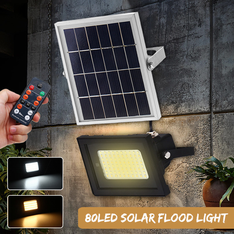 Удаленный Управление Солнечный прожекторная панель ночник 80LED Водонепроницаемый открытый двор Street путь пейзаж прожектор