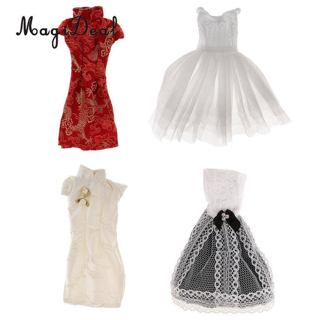 MagiDeal 4 стиля Потрясающие ручной работы китайский Cheongsam юбки для куклы принцесса ежедневно носить вечерние шоу Вечернее платье Костюмы Acc ...