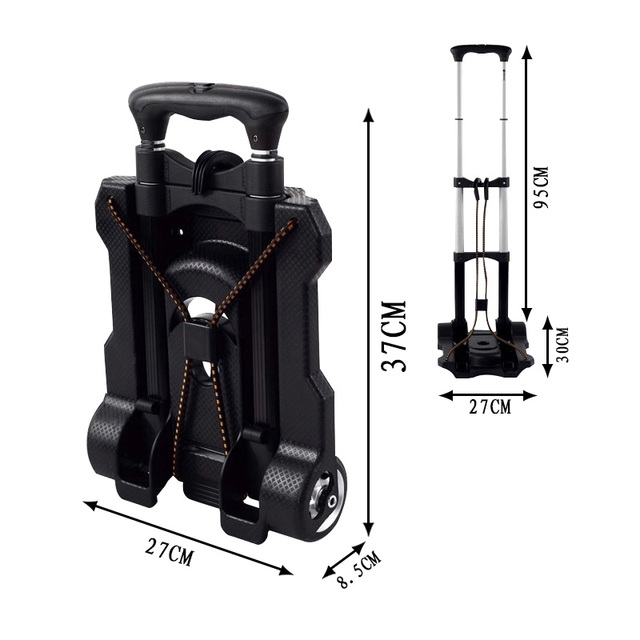Portable Metal Folding Travel Cart – Adjustable Luggage Trolley Cart