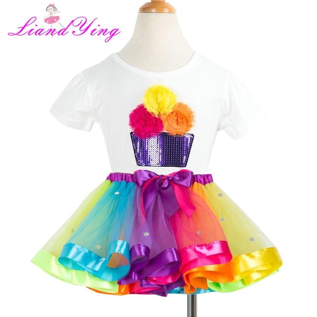 8aa90f160 Rainbow Ribbon Tutu Set First Birthday Dress New Summer Colorful Tutu  Clothing Sets Birthday Outfit