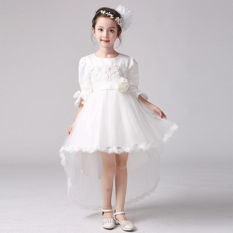 Новинка 2020 года; торжественное платье для девочек; элегантное платье принцессы с расклешенными рукавами; свадебное платье с цветочным узор