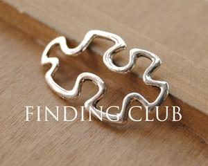 30pcs Antique Silver Autism Awareness Puzzle Piece Connectors Charm Connector Metal Bracelet Necklace Jewelry Findings A556(China)