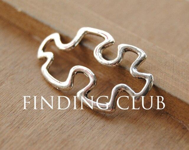 30pcs Antique Silver Autism Awareness Puzzle Piece Connectors Charm Connector Metal Bracelet Necklace Jewelry Findings 6