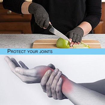 1 Pair Unisex Men Women Therapy Compression Gloves Hand Arthritis Joint Pain Relief Health Care Half-finger Gloves