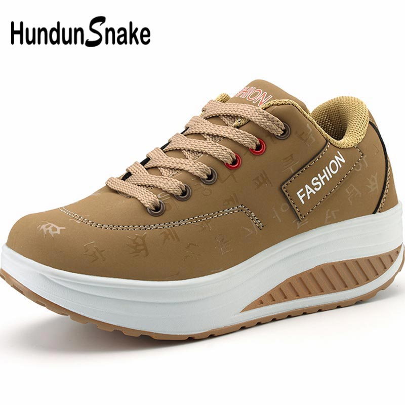 Hundunsnake Wedge Sneakers On Thick Soles Women's Sport Shoes Women Running Shoes Sports Khaki Tennis Platform Feminino B-045