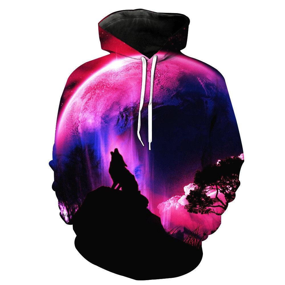 BIAOLUN Fashion Galaxy Space 3D Hoodie Bright Wolf Print Hoodies Sweatshirts Men Women Unisex Hooded Pullovers Animal 3D Tops