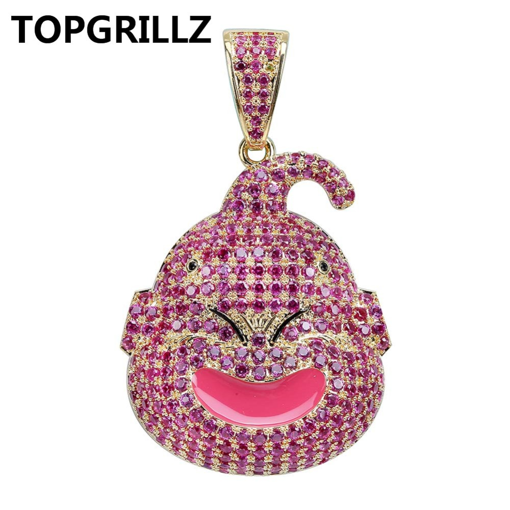 67e61579a70eb4 TOPGRILLZ Dragon Ball Character Kid Buu Pendant Necklace Iced Out Cubic  Zircon Hip Hop Gold Silver Color Men Charm Chain Jewelry