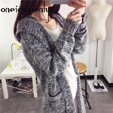 women sweater and cardigans 2017 winter female hooded cardigan loose thickened long sweater coat knitted outwear 0.83