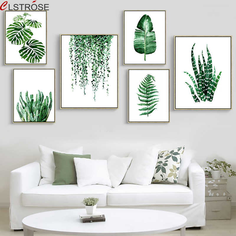 CLSTROSE Modern Green Tropical Plant Leaves Canvas Art Print Poster Nordic Green Plant Wall Pictures Kids Room Large Painting