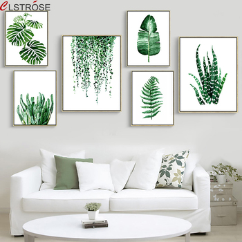 CLSTROSE Modern Green Tropical Plant Leaves Canvas Art Print Poster Nordic Wall Pictures Kids Room Large Painting