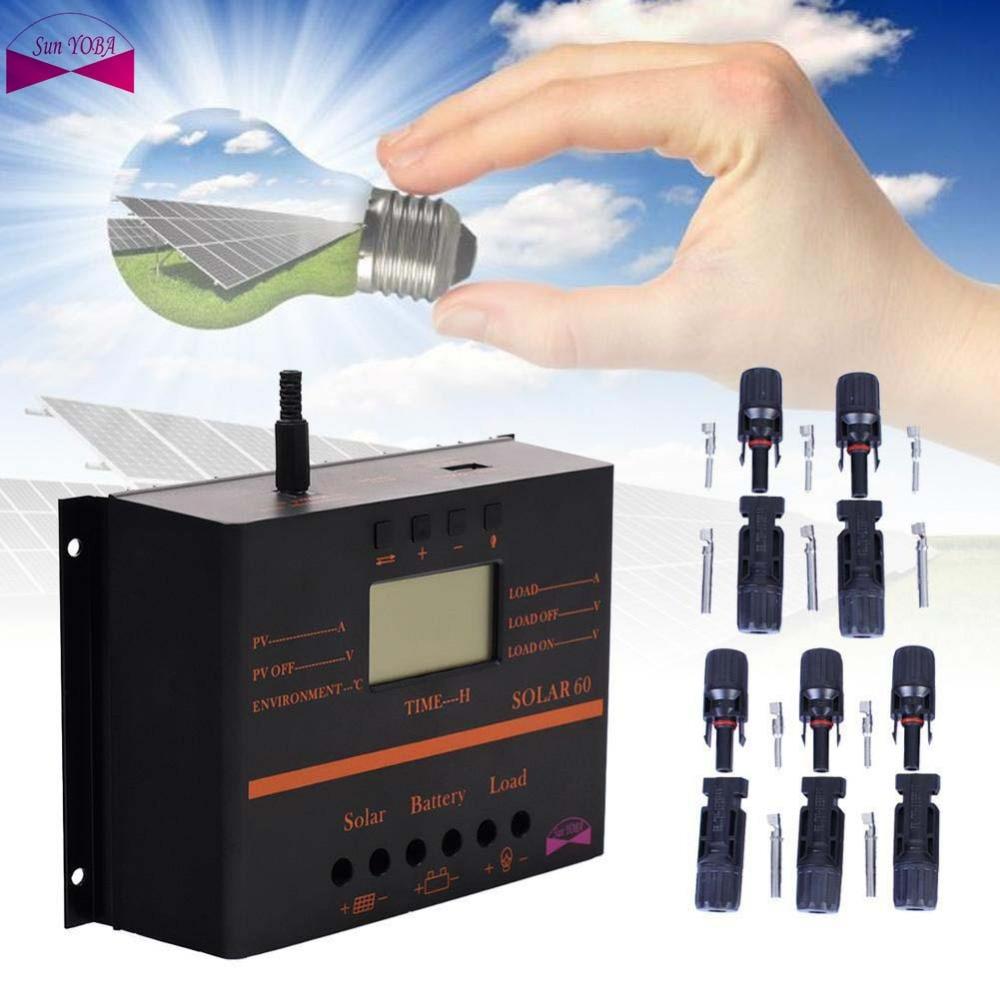 PWM 80A Solar Charge Controller 12V 24V LCD Display USB 5V Solar Panel Charge Regulator + 5 Pairs MC4 Solar Panel Connetors