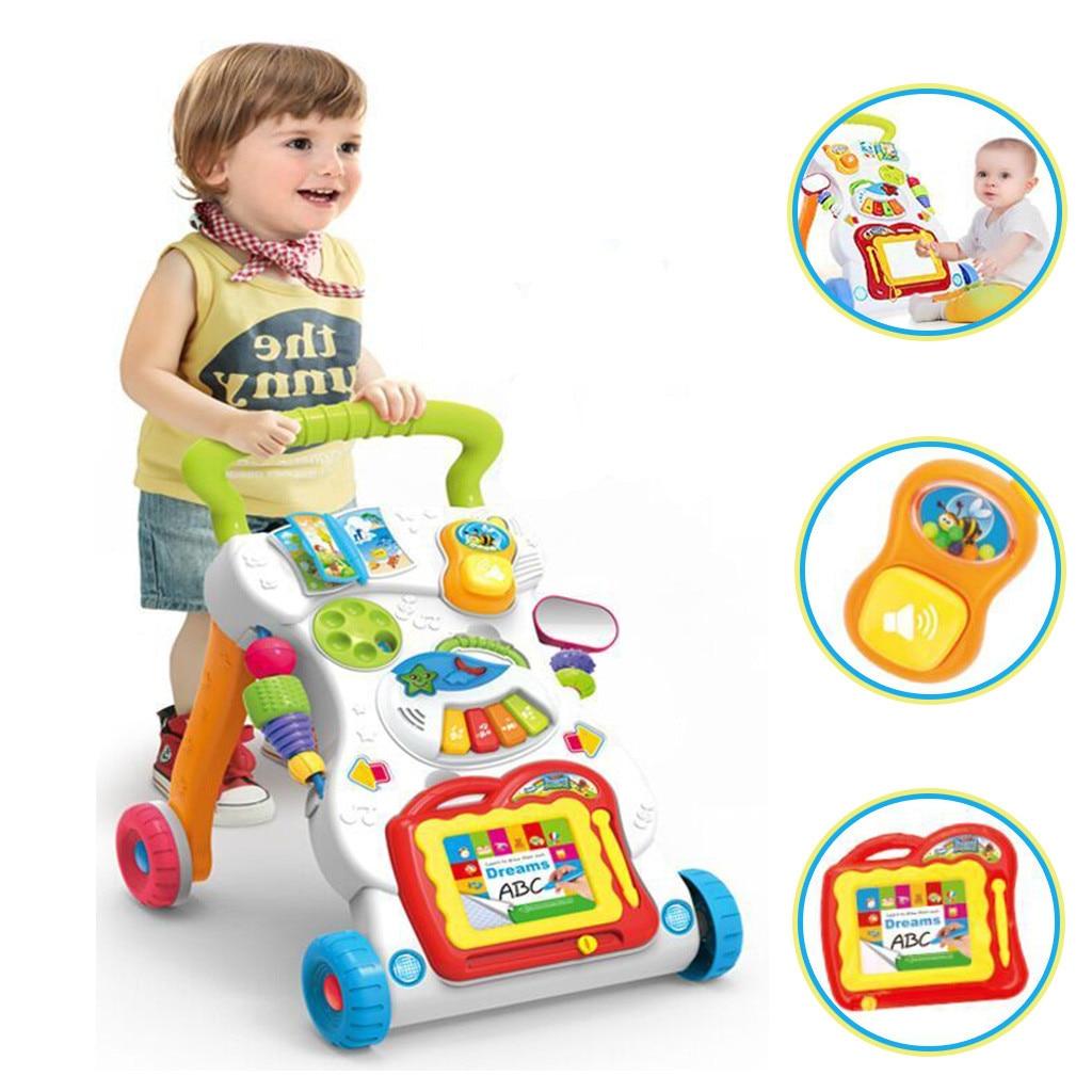 Bébé enfants Cartoon Walker poussette multifonctionnel bébé enfant en bas âge jouet Musical 9 mois Piano clés jouer chansons musique son éducation