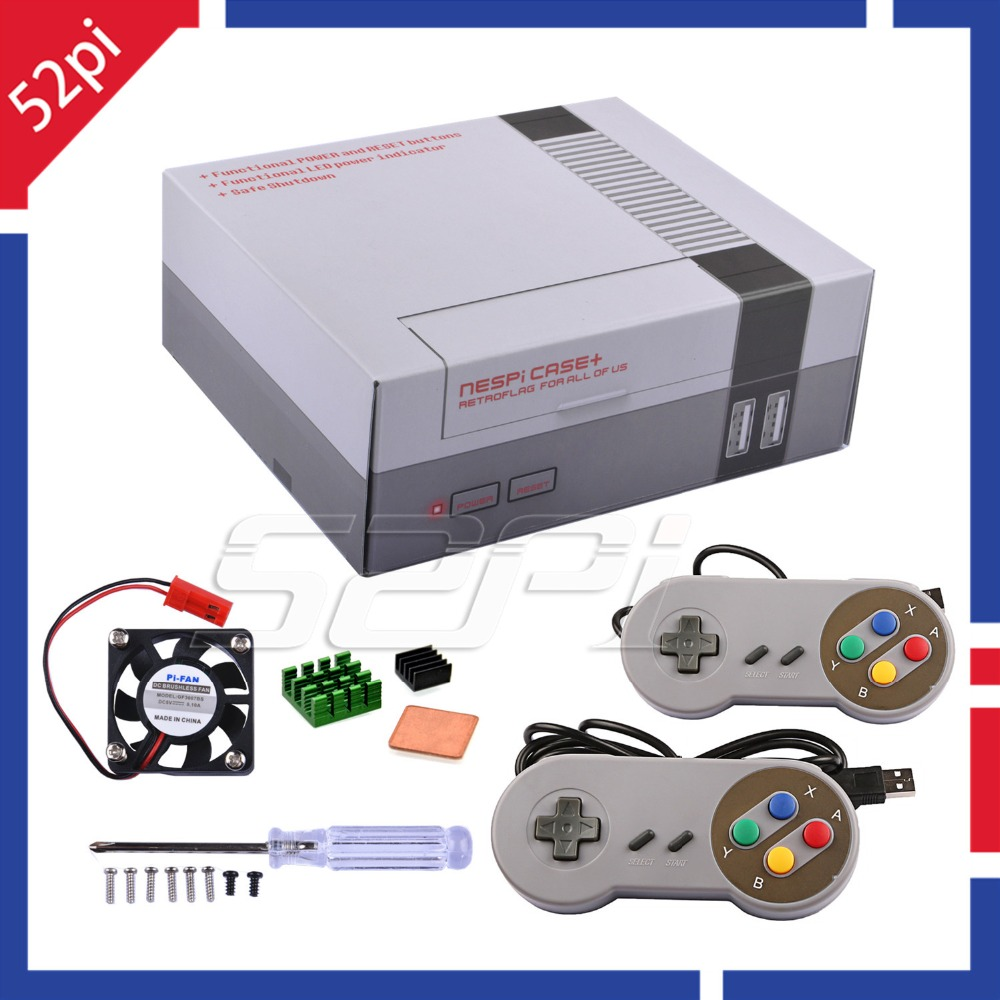 52Pi New Version NESPi Case+ Plus Retroflag with Cooling Fan and 2 pcs SNES Gamepad Controller for Raspberry Pi 3 B+ / 3 B / 2 B